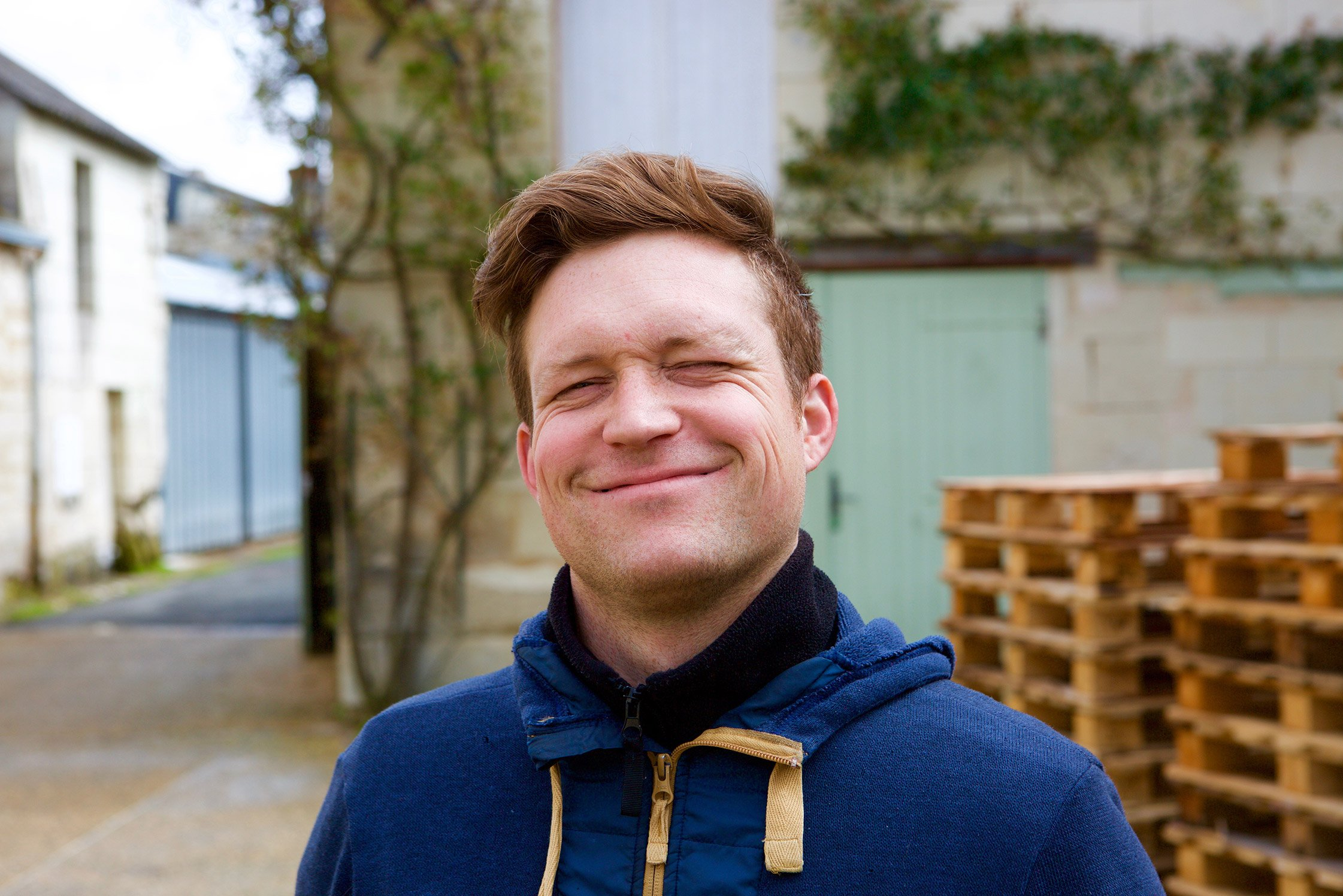 Brendan Stater-West at Romain Guiberteau's winery